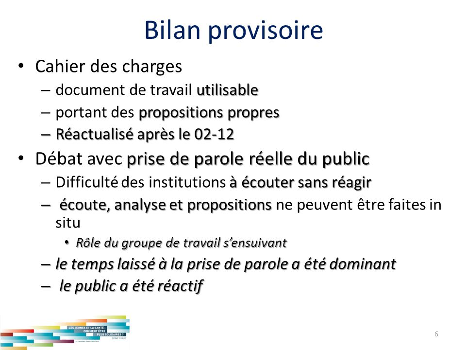 Bilan provisoire Cahier des charges