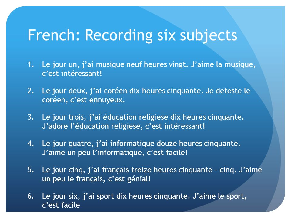 French: Recording six subjects