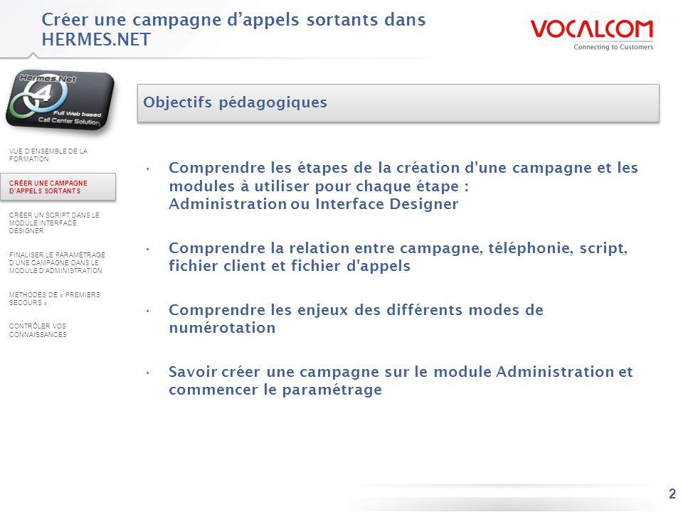 Les étapes de création d'une campagne d'appels sortants