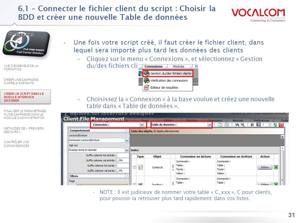 6.2 – Connecter le fichier client du script : connecter, vérifier et enregistrer (1/2)
