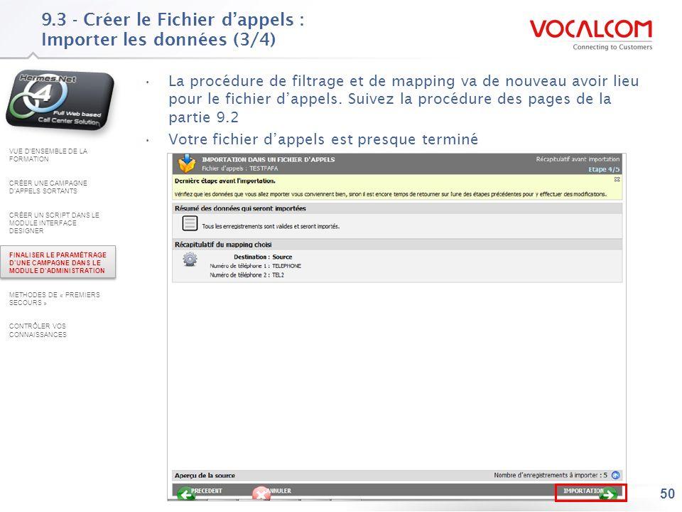 9.3 - Créer le Fichier d'appels : Importer les données (4/4)