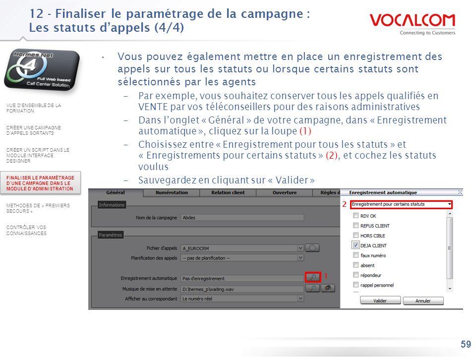 12 - Finaliser le paramétrage de la campagne : Les ressources des commerciaux – Carnet d'adresses (1/2)