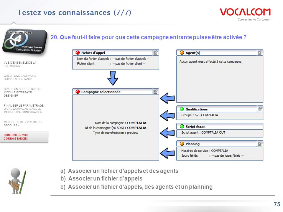 Réponses au QCM (1/2) VUE D'ENSEMBLE DE LA FORMATION