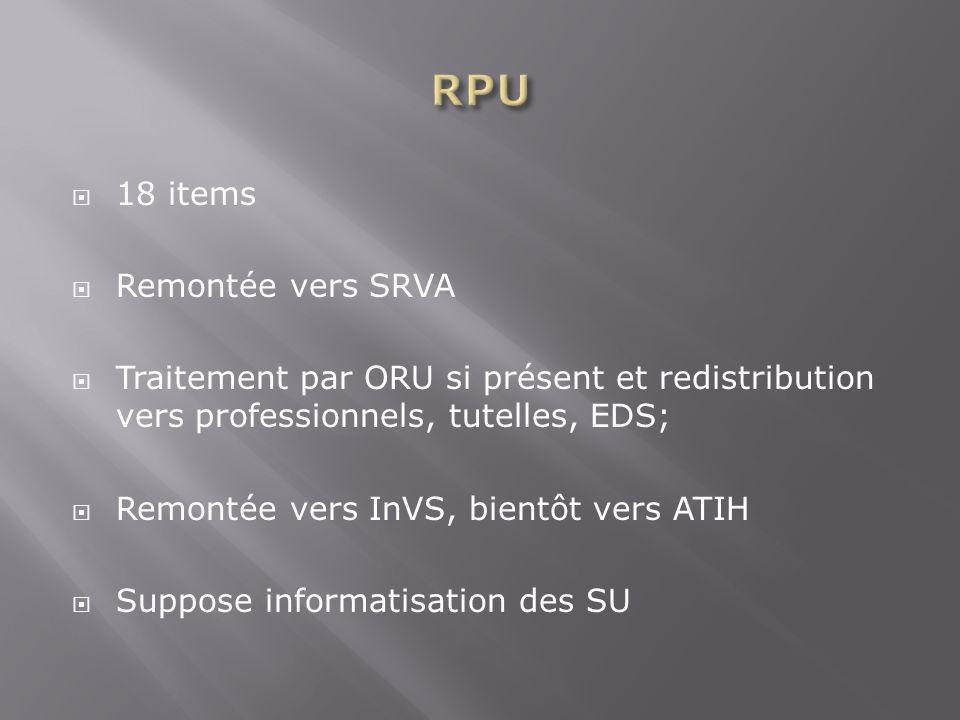 RPU 18 items Remontée vers SRVA