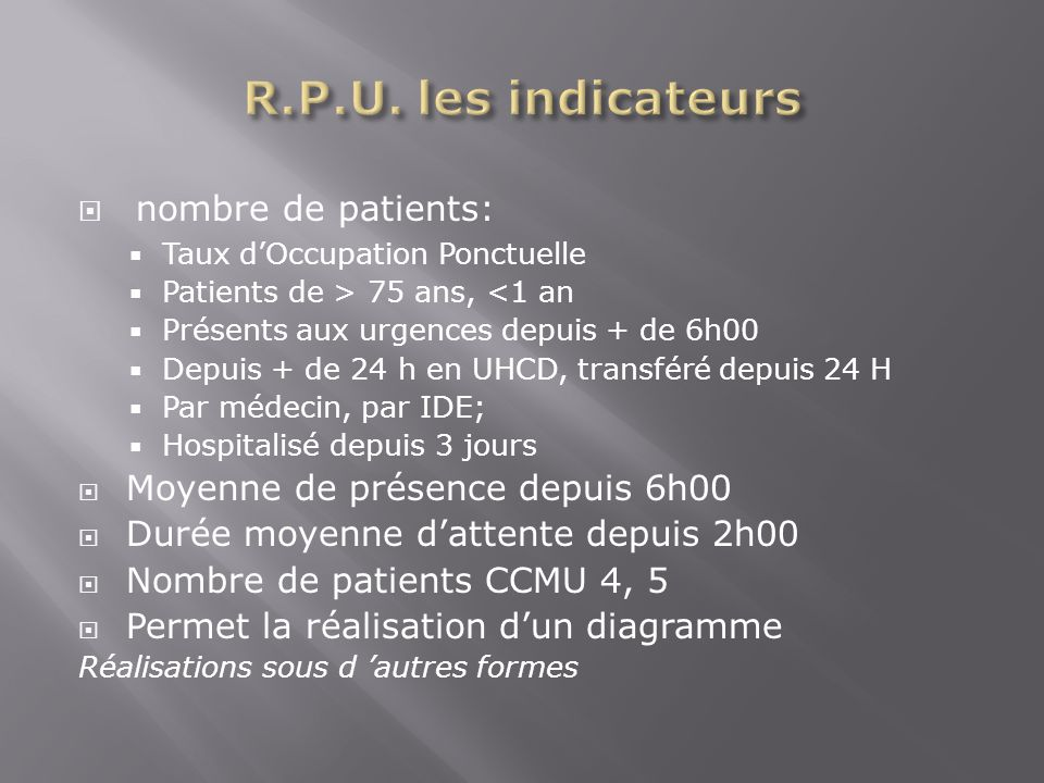 R.P.U. les indicateurs nombre de patients: