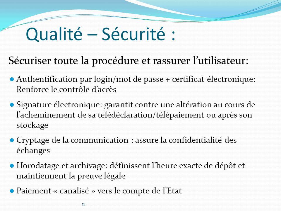 Qualité – Sécurité : Sécuriser toute la procédure et rassurer l'utilisateur: