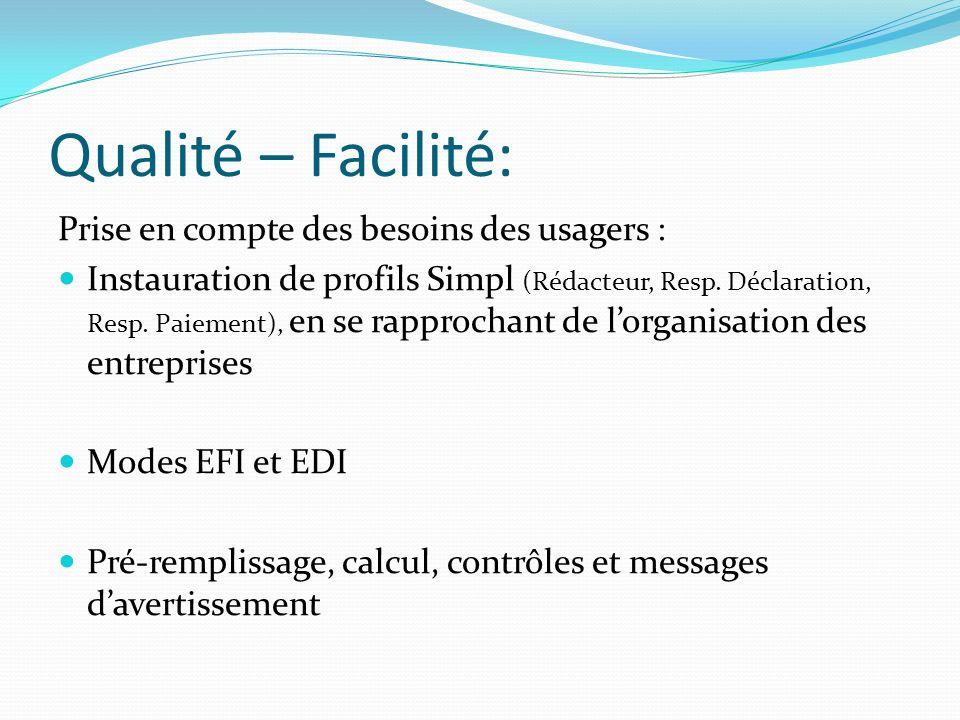 Qualité – Facilité: Prise en compte des besoins des usagers :
