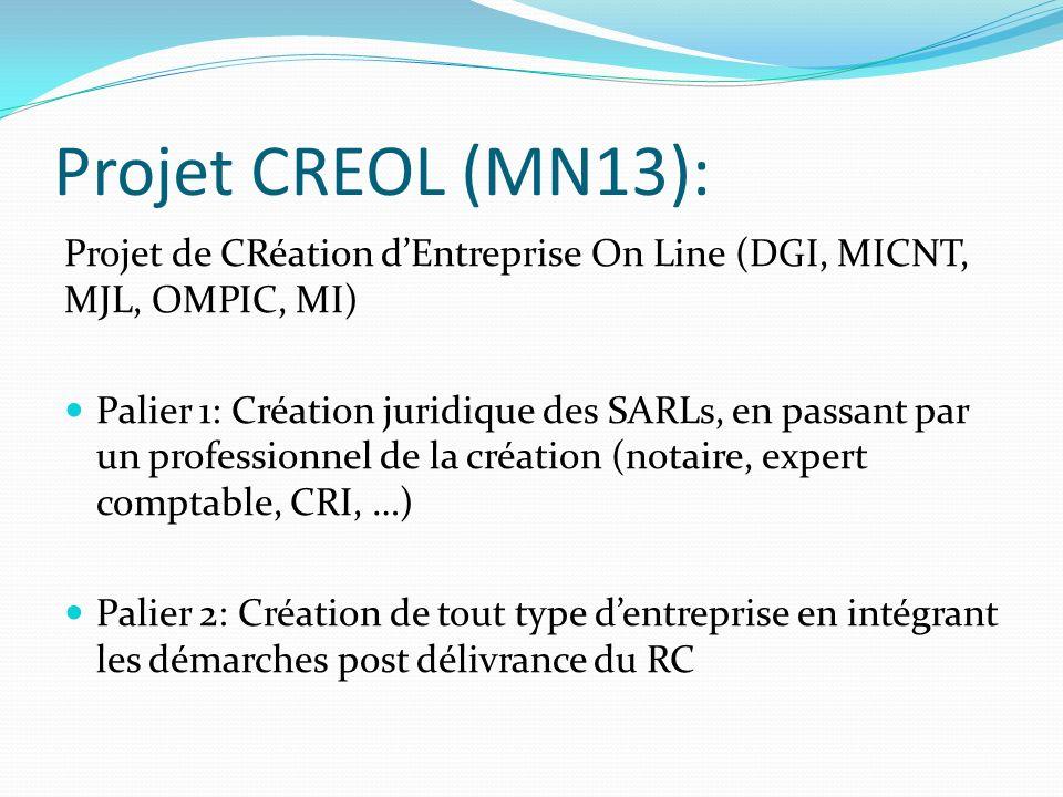 Projet CREOL (MN13): Projet de CRéation d'Entreprise On Line (DGI, MICNT, MJL, OMPIC, MI)