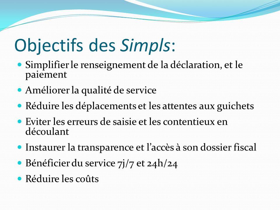 Objectifs des Simpls: Simplifier le renseignement de la déclaration, et le paiement. Améliorer la qualité de service.