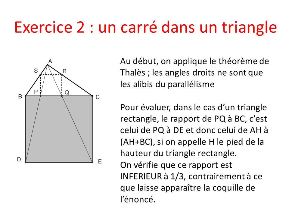Exercice 2 : un carré dans un triangle