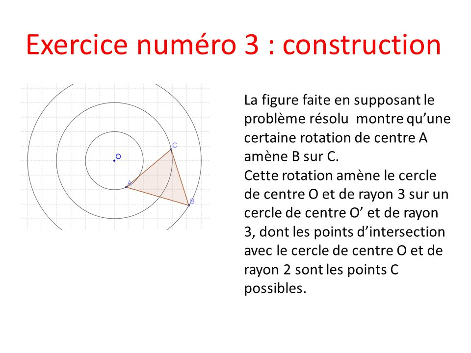 Exercice numéro 3 : construction