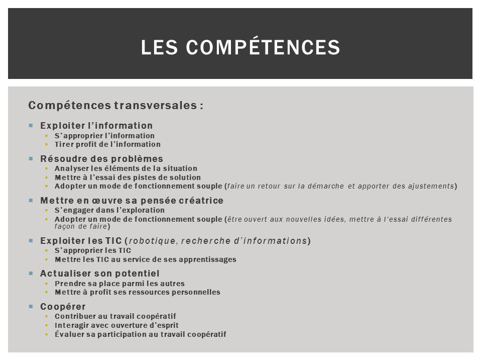 Les Compétences Compétences transversales : Exploiter l'information