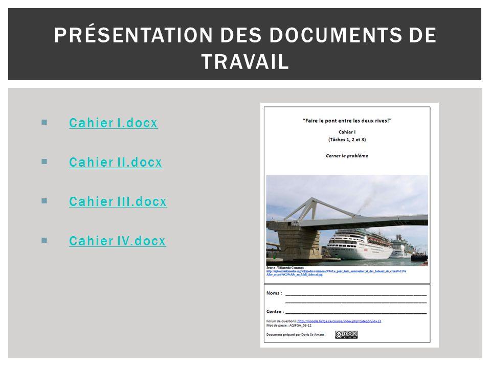 Présentation des documents de travail