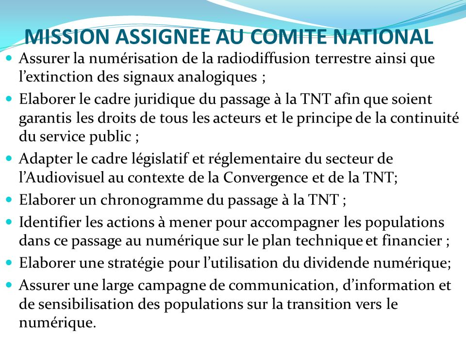 MISSION ASSIGNEE AU COMITE NATIONAL
