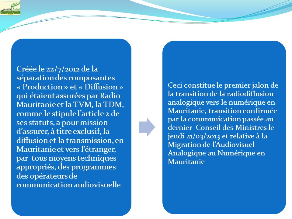 Créée le 22/7/2012 de la séparation des composantes « Production » et « Diffusion » qui étaient assurées par Radio Mauritanie et la TVM, la TDM, comme le stipule l'article 2 de ses statuts, a pour mission d'assurer, à titre exclusif, la diffusion et la transmission, en Mauritanie et vers l'étranger, par tous moyens techniques appropriés, des programmes des opérateurs de communication audiovisuelle.
