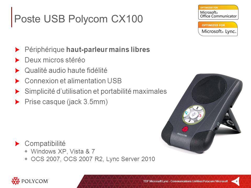 Poste USB Polycom CX100 Périphérique haut-parleur mains libres