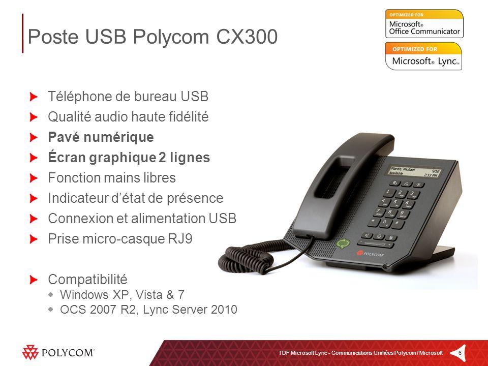 Poste USB Polycom CX300 Téléphone de bureau USB