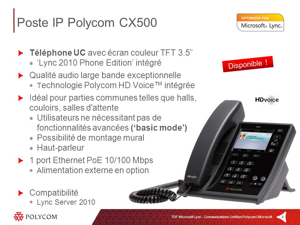 Poste IP Polycom CX500 Téléphone UC avec écran couleur TFT 3.5