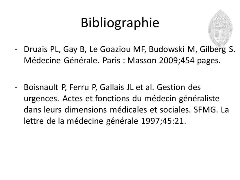 Bibliographie Druais PL, Gay B, Le Goaziou MF, Budowski M, Gilberg S. Médecine Générale. Paris : Masson 2009;454 pages.