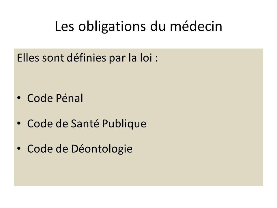 Les obligations du médecin