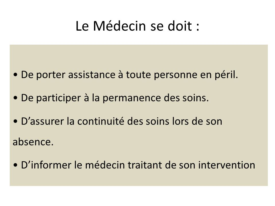 Le Médecin se doit :