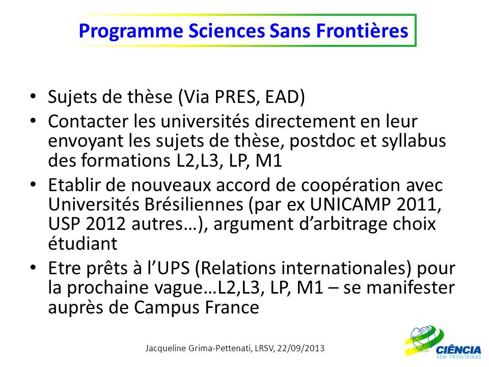 Sujets de thèse (Via PRES, EAD)