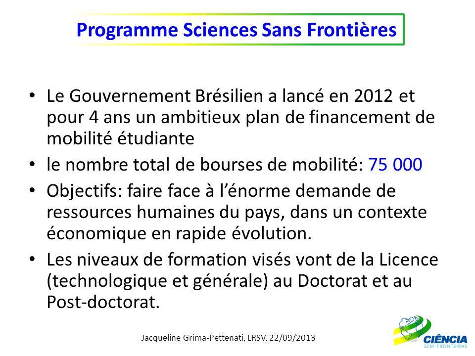 Le Gouvernement Brésilien a lancé en 2012 et pour 4 ans un ambitieux plan de financement de mobilité étudiante