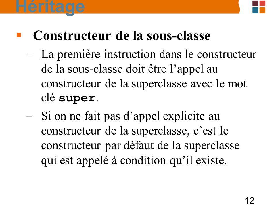 Héritage Constructeur de la sous-classe