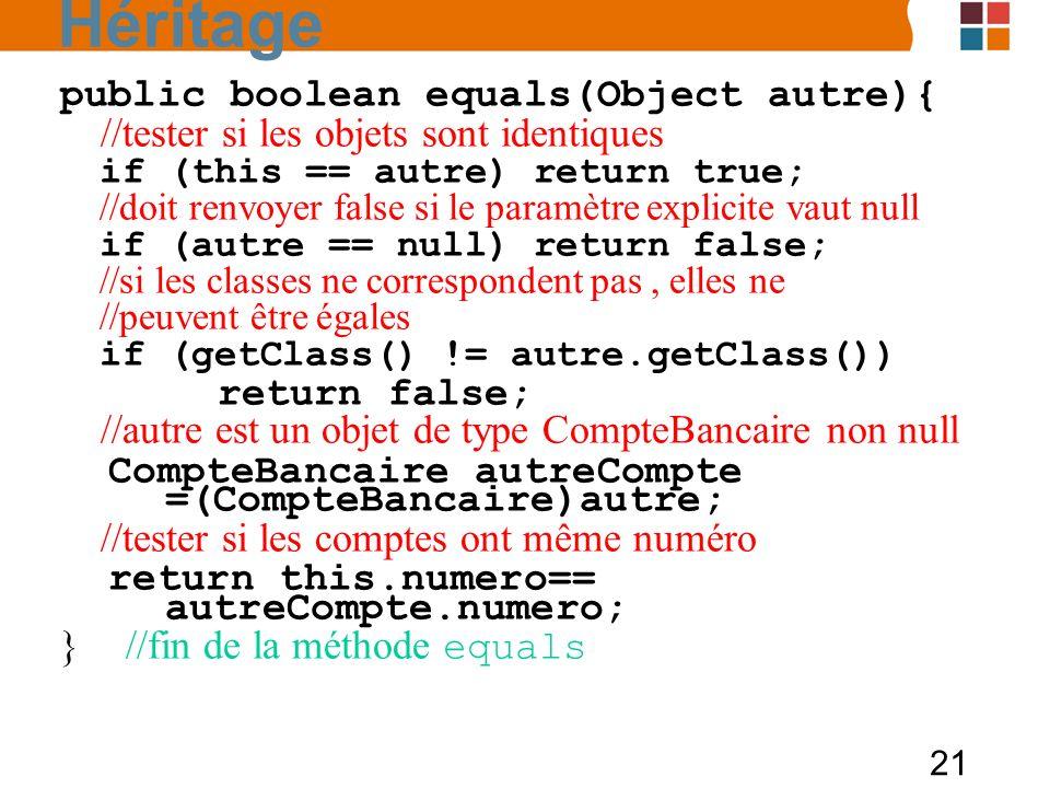 Héritage public boolean equals(Object autre){