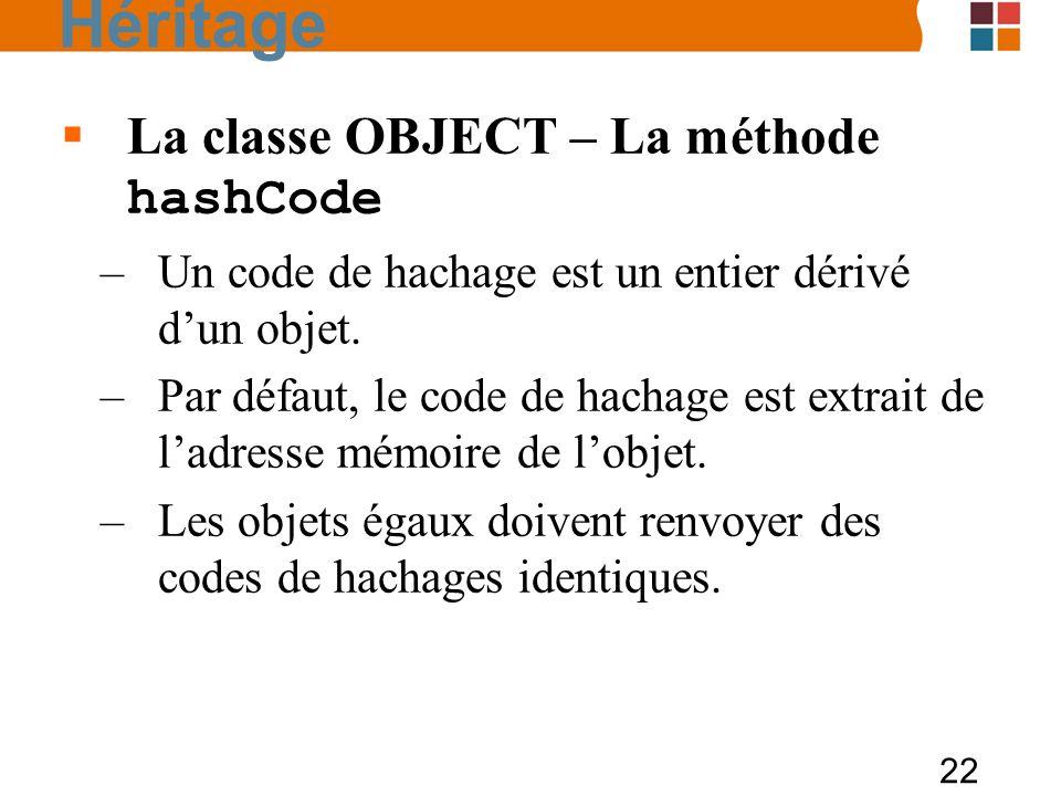 Héritage La classe OBJECT – La méthode hashCode