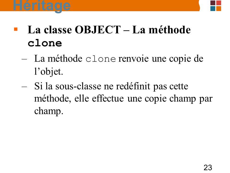 Héritage La classe OBJECT – La méthode clone