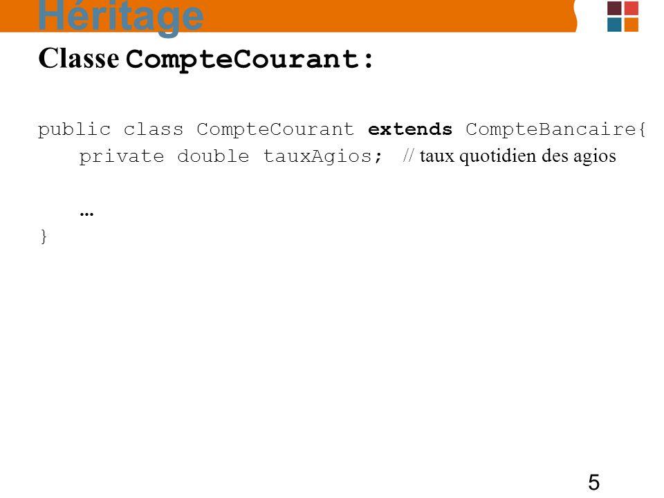 Héritage Classe CompteCourant :