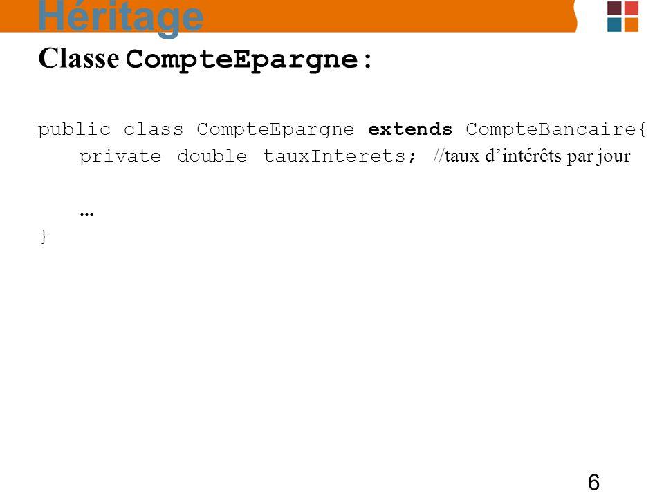 Héritage Classe CompteEpargne: