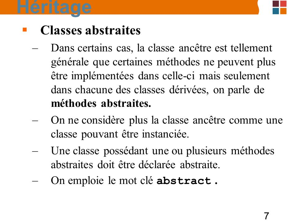 Héritage Classes abstraites