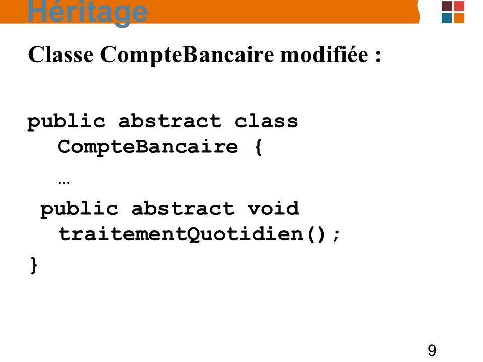 Héritage Classe CompteBancaire modifiée :