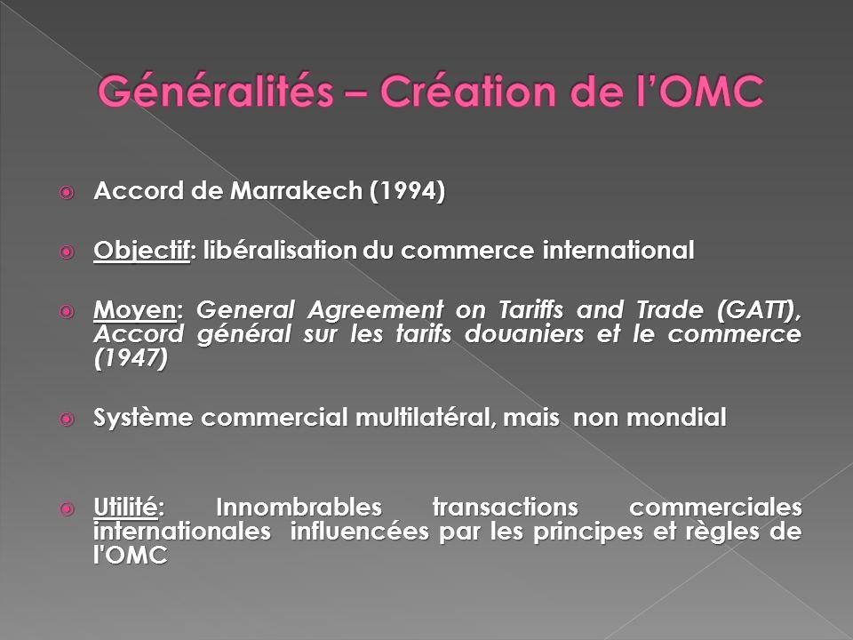 Généralités – Création de l'OMC