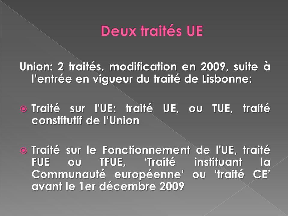 Deux traités UE Union: 2 traités, modification en 2009, suite à l'entrée en vigueur du traité de Lisbonne: