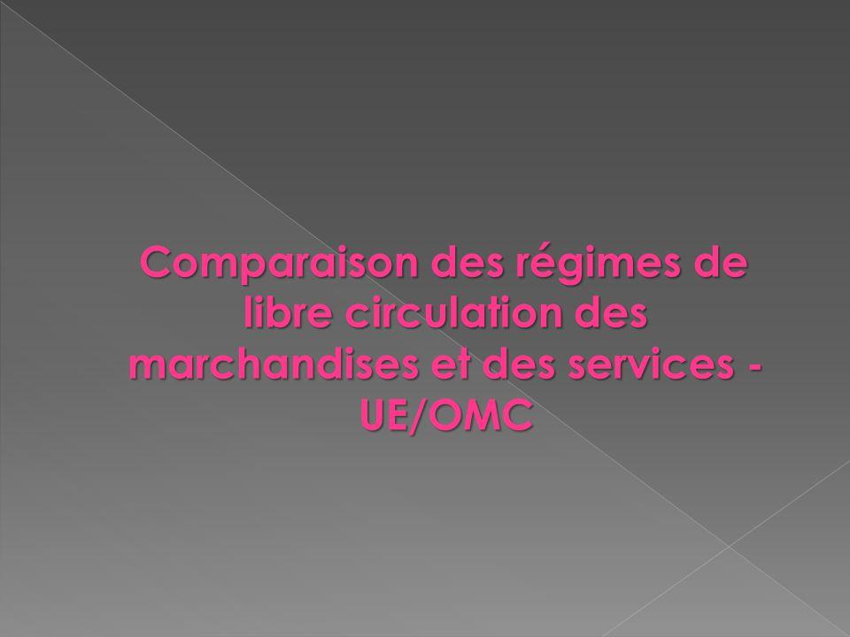 Comparaison des régimes de libre circulation des marchandises et des services - UE/OMC