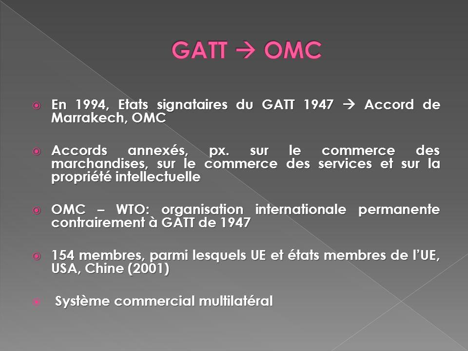 GATT  OMC En 1994, Etats signataires du GATT 1947  Accord de Marrakech, OMC.