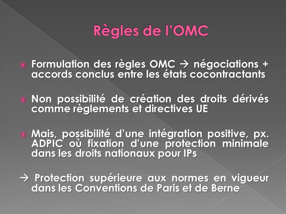 Règles de l'OMC Formulation des règles OMC  négociations + accords conclus entre les états cocontractants.