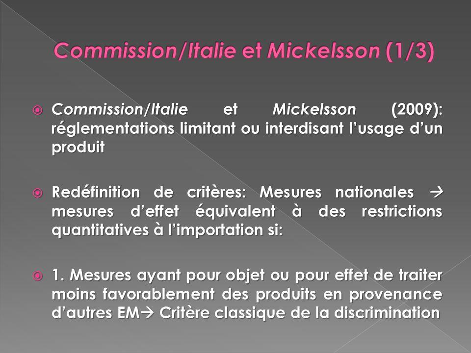 Commission/Italie et Mickelsson (1/3)