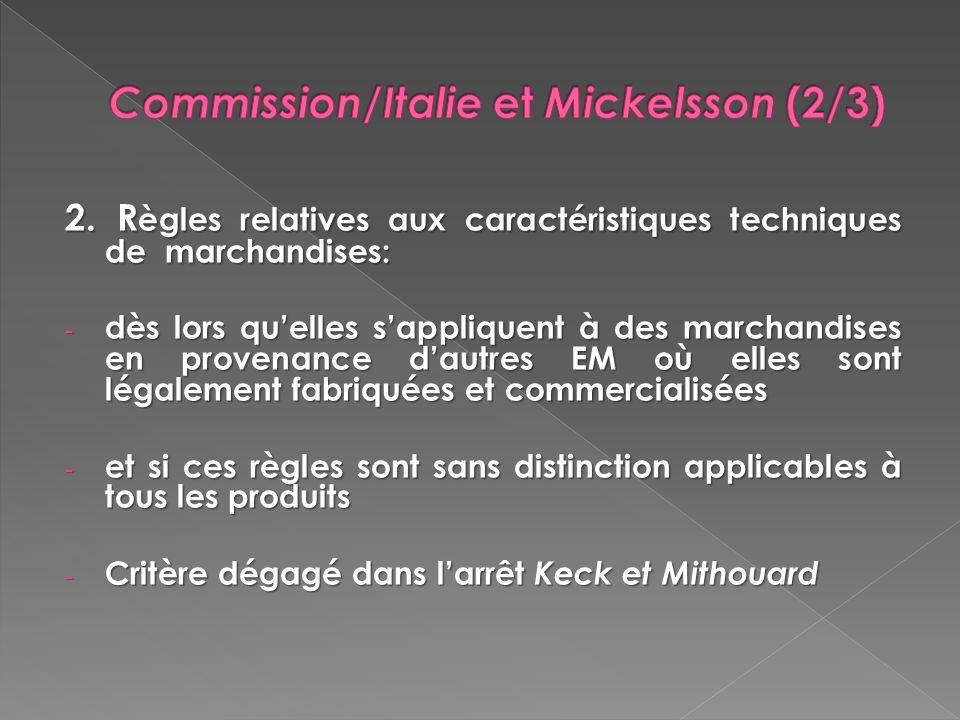 Commission/Italie et Mickelsson (2/3)