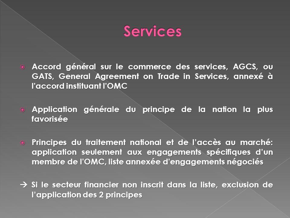 Services Accord général sur le commerce des services, AGCS, ou GATS, General Agreement on Trade in Services, annexé à l accord instituant l OMC.