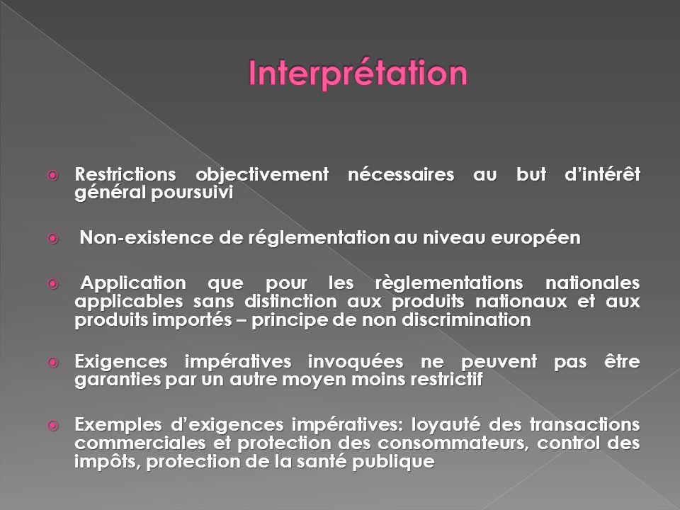 Interprétation Restrictions objectivement nécessaires au but d'intérêt général poursuivi. Non-existence de réglementation au niveau européen.