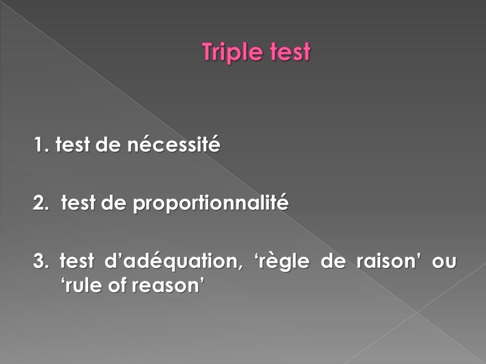Triple test 1. test de nécessité 2. test de proportionnalité
