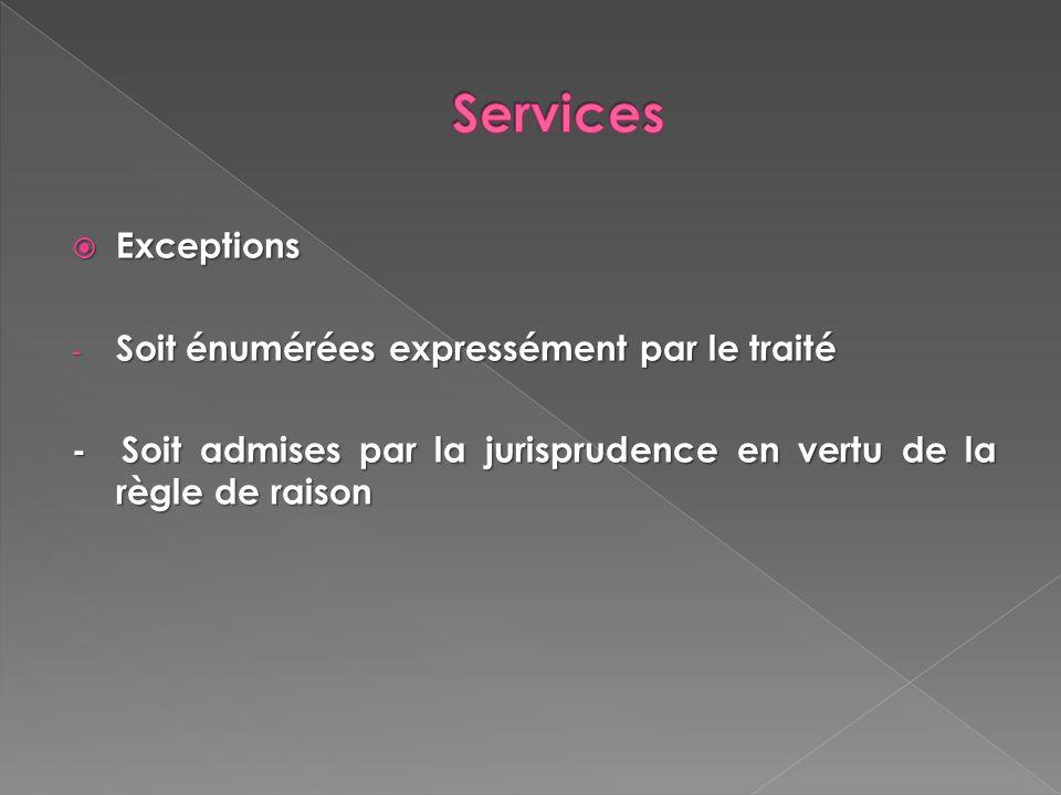 Services Exceptions Soit énumérées expressément par le traité