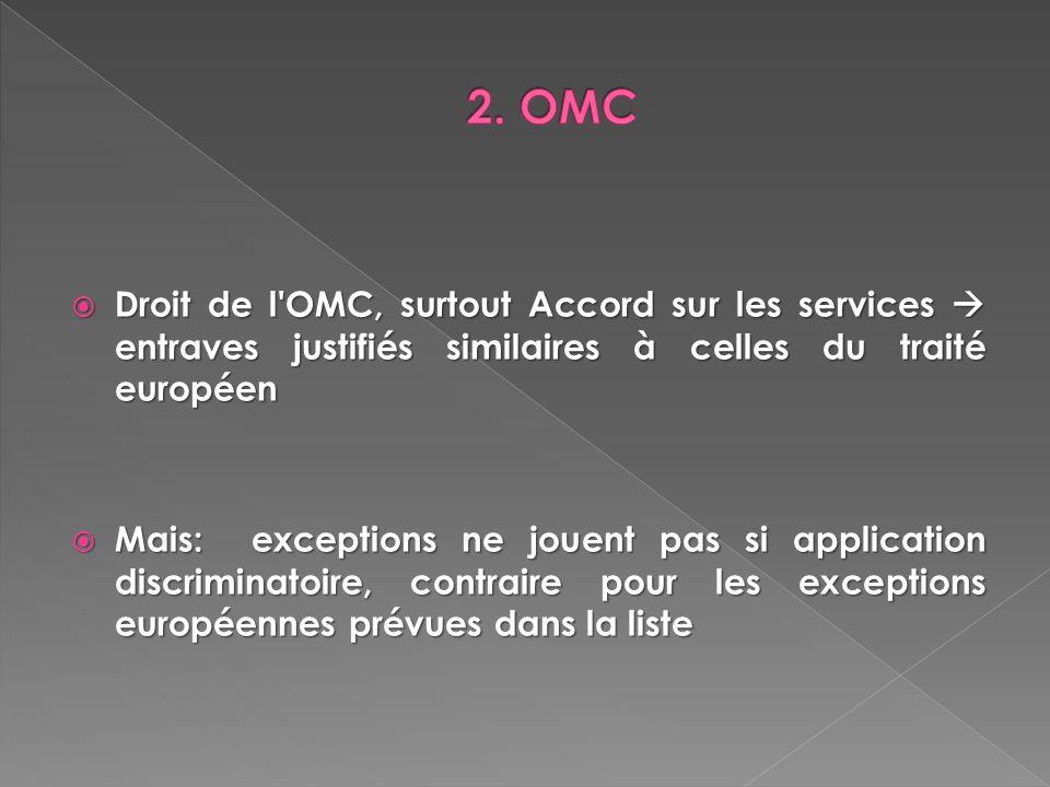 2. OMC Droit de l OMC, surtout Accord sur les services  entraves justifiés similaires à celles du traité européen.