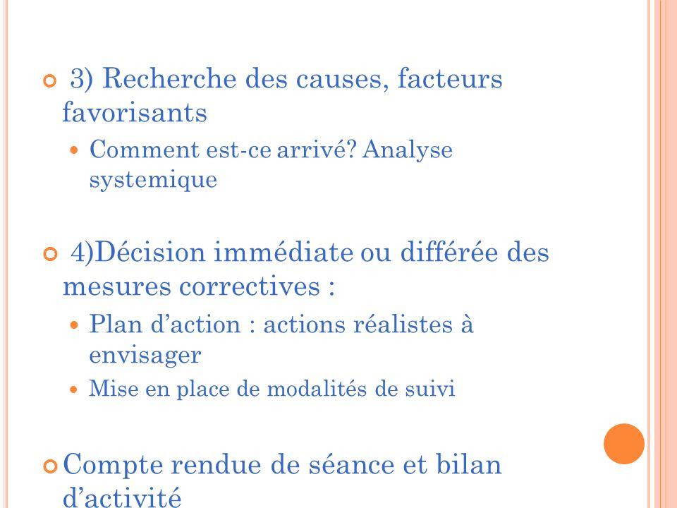4)Décision immédiate ou différée des mesures correctives :