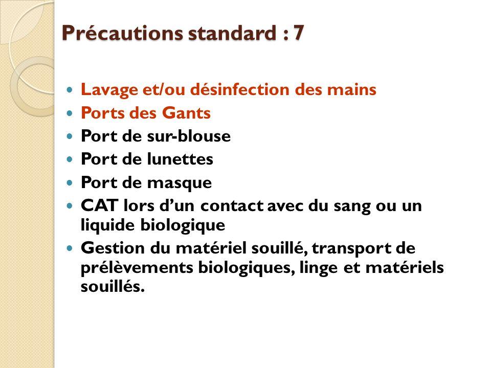 Précautions standard : 7