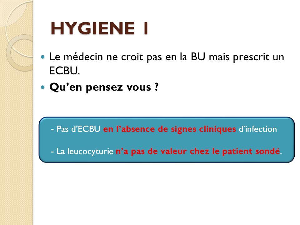 HYGIENE 1 Le médecin ne croit pas en la BU mais prescrit un ECBU.